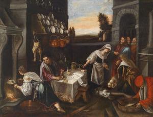 Christus in het huis van Martha en Maria, met doorkijk naar landschap
