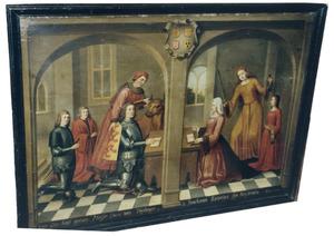 Portret van Lucas van Teylingen (....-....), Catharina van de Watering (....-1532) en kinderen