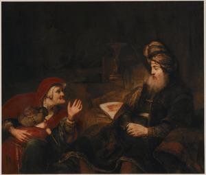 Sara beklaagt zich voor Abraham over  Hagar (Genesis 21:9)
