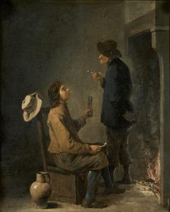 Twee rokende boeren voor een haardvuur