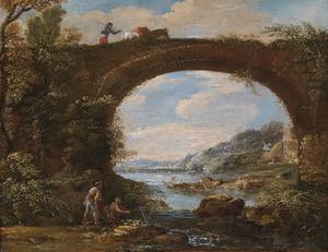 Rivierlandschap met vissers bij een brug