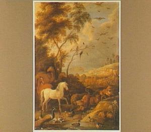 Landschap met de inscheping van de dieren in de ark van Noach (Genesis 7:15-16)