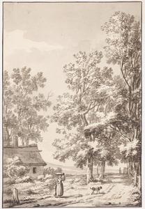 Bosachtig landschap met een landweg en een hut