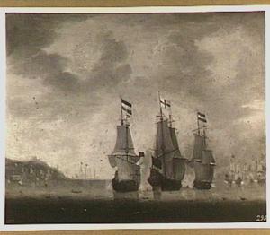 Gevecht tussen Hollandse en Engelse schepen voor de kust