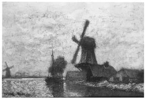 Nederlands polderlandschap met molens
