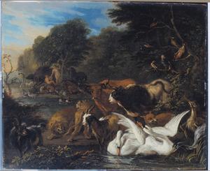 Het Paradijs, met Adam en Eva in de achtergrond