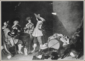 Kaartende soldaten in een interieur