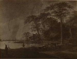 Beboste oever van een rivier met herders, vee en reizigers in een kar