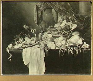 Stilleven met kreeft, roemer, oesters en vruchten