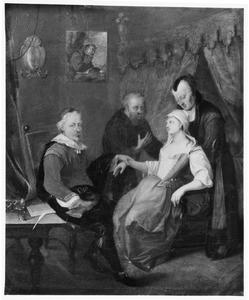 Interieur met zieke vrouw die wordt bezocht door een dokter