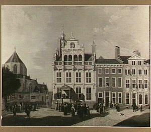 Gezicht op het Stadhuis en de St. Jacobskerk te Den Haag