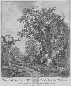 Rand van een dorp met man te paard