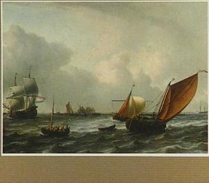 Schepen op het IJ bij Amsterdam met in het verschiet het galgenveld bij Volewijck en het tolhuis