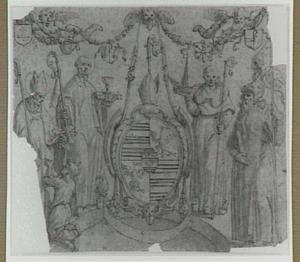 Wapenschild van Jacques de Joigny de Pamèle (1536-1587), Bisschop van Saint-Omer, Aartsdiaken van Vlaanderen; van links naar rechtsde heiligen Omer, Benedictus, Bertinus en Willem van Maleval