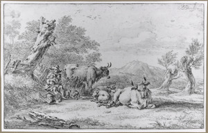 Herder spelend op zijn doedelzak met met vee in een landschap