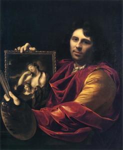 Zelfportret van de kunstenaar met het dubbelportret van zijn vrouw Margaretha van Rees (1669-1732) en hun dochter Maria (1692-1731)