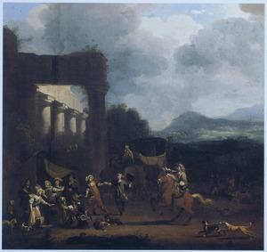 Zuidelijk landschap met kampement bij een ruïne