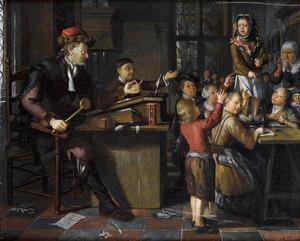 De bestraffing van een schooljongen door de meester in de klas