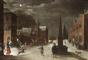Maanverlicht gezicht in een winterse stad met exotisch gezelschap in sledes