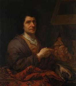 Zelfportret; op de achtergrond Simson slapend in Delila's schoot (Rechters 16: 16-19)