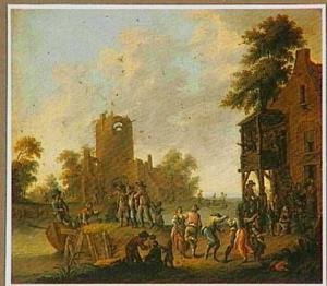 Rivierlandschap met herberg; op de achtergrond een ruïne