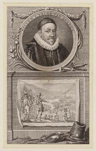 Portret van Willem I 'de Zwijger' van Oranje- Nassau (1533-1584) boven een voorstelling van de overtocht over de Maas in 1568