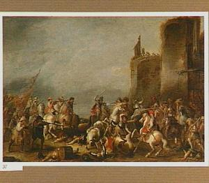 Ruitergevecht bij een stadsmuur