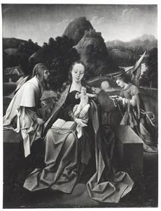 De H. familie zittend op een borstwering voor een berglandschap