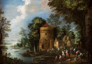 Landschap met mensen en een toren aan de oever van een rivier
