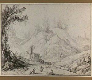Berglandschap met figuren op een brede weg