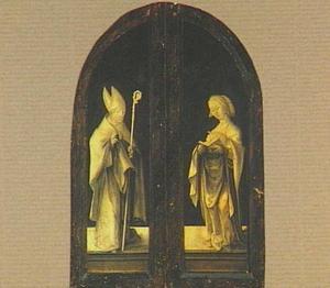 De H. Augustinus (?) (links) en een vrouwelijke heilige (rechts)