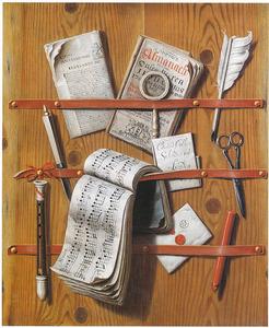Trompe-l'oeil van een brievenbord met een fluit
