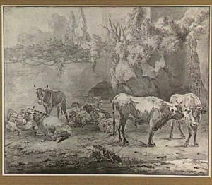Landschap met slapende herder en kudde