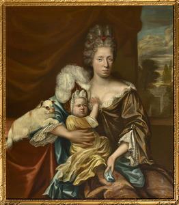 Dubbelportret van Alida Matroos (1675-1703)  en haar zoontje Weijer Beeldsnijder (1699-1718)