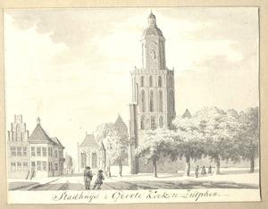 Zutphen, de Groote of St. Walburgskerk en het stadhuis