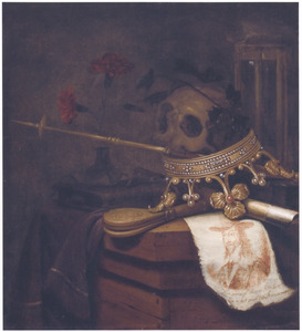 Vanitasstilleven met een prent van koning Karel I van Engeland (1600-1649)