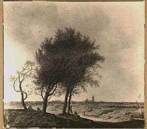 Landschap met gezicht op Den Haag