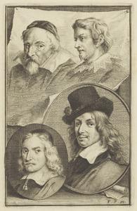 Portretten van een man genaamd Frans Hals (1582-1666), van Wenzel Coebergher (1560-1634), Lucas van Uden (1595-1672) en Wybrand de Geest (1592-....)