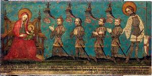 Gedachtenistafel van de Heren van Montfoort met portretten van Jan de Rover van Montfoort (....-1345), Roelof de Rover van Heulestein (....-1345), Willem de Rover van der Nesse (....-1345) en vermoedelijk Hendrik de Rover van Heulestein (....-....)