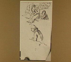 Vier figuurstudies, onder andere zittend meisje en man ten halve lijve