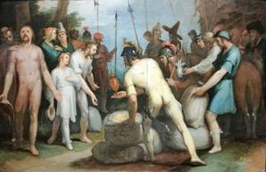 Jozefs zilveren beker wordt gevonden in Benjamins zak (Genesis 44:12)