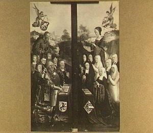 Twee zijluiken van een memoriestuk met acht portretten van mannen en negen portretten van vrouwen, respectievelijk vergezeld van de heiligen Jacobus Major en Maria Magdalena