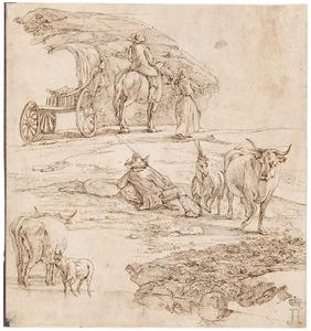 Studies van reizigers en een herder met vee