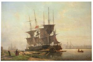 Aangemeerd zeilschip bij De Houtpijp in Amsterdam