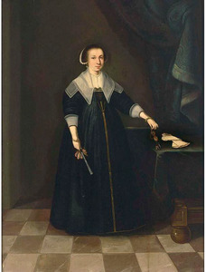 Portret van een vrouw met een waaier en een horloge in haar handen
