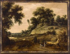Bebost heuvellandschap met ruiters, op de heuvel een herberg