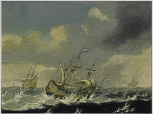 Fregatten op een stormachitige zee
