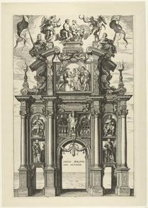 De voorzijde van de triomfboog van Filips IV (Pompa Introitus Ferdinandi)