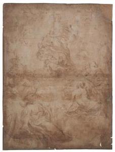 De kroning van Maria door het Christuskind, omgeven door heiligen