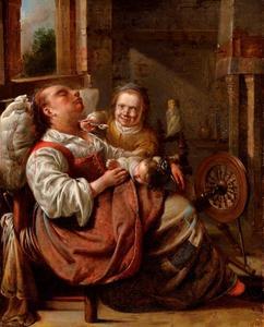 Slapende vrouw met twee kinderen in een interieur